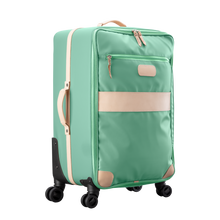 Load image into Gallery viewer, Large 360 wheeled luggage diagonal view in Color 'Mint Coated Canvas'
