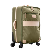 Load image into Gallery viewer, Large 360 wheeled luggage diagonal view in Color 'Moss Coated Canvas'