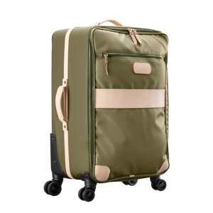 Large 360 wheeled luggage diagonal view in Color 'Moss Coated Canvas'