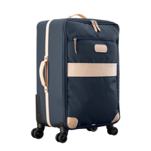 Load image into Gallery viewer, Large 360 wheeled luggage diagonal view in Color 'Navy Coated Canvas'