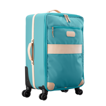 Load image into Gallery viewer, Large 360 wheeled luggage diagonal view in Color 'Ocean Blue Coated Canvas'
