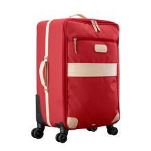 Load image into Gallery viewer, Large 360 wheeled luggage diagonal view in Color 'Red Coated Canvas'