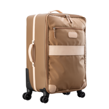 Load image into Gallery viewer, Large 360 wheeled luggage diagonal view in Color 'Saddle Coated Canvas'