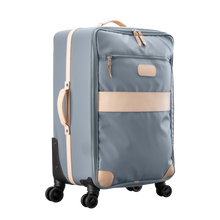 Load image into Gallery viewer, Large 360 wheeled luggage diagonal view in Color 'Slate Coated Canvas'