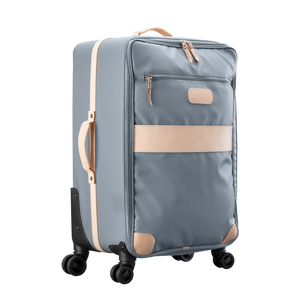 Large 360 wheeled luggage diagonal view in Color 'Slate Coated Canvas'
