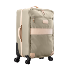 Load image into Gallery viewer, Large 360 wheeled luggage diagonal view in Color 'Tan Coated Canvas'