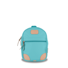 Load image into Gallery viewer, Mini Backpack  Front Angle in Color 'Ocean Blue Coated Canvas'
