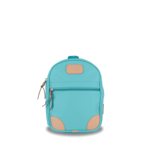 Mini Backpack  Front Angle in Color 'Ocean Blue Coated Canvas'