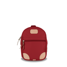 Load image into Gallery viewer, Mini Backpack  Front Angle in Color 'Red Coated Canvas'