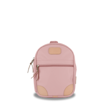 Load image into Gallery viewer, Mini Backpack  Front Angle in Color 'Rose Coated Canvas'
