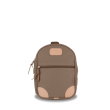 Load image into Gallery viewer, Mini Backpack  Front Angle in Color 'Saddle Coated Canvas'