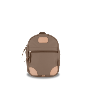 Mini Backpack  Front Angle in Color 'Saddle Coated Canvas'