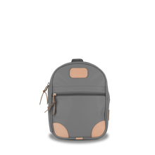 Load image into Gallery viewer, Mini Backpack  Front Angle in Color 'Slate Coated Canvas'