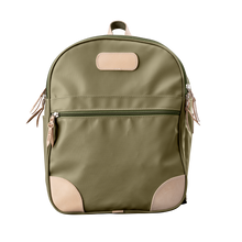 Load image into Gallery viewer, Backpack front view in Color 'Moss Coated Canvas'