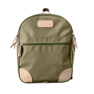 Backpack front view in Color 'Moss Coated Canvas'