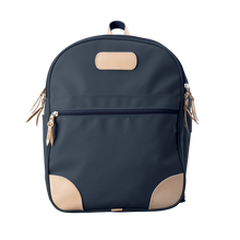 Load image into Gallery viewer, Backpack front view in Color 'Navy Coated Canvas'