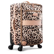 Load image into Gallery viewer, Large 360 wheeled luggage diagonal view in Color 'Leopard Coated Canvas'