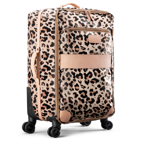 Large 360 wheeled luggage diagonal view in Color 'Leopard Coated Canvas'
