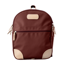 Load image into Gallery viewer, Backpack front view in Color 'Burgundy Coated Canvas'