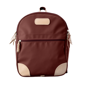 Backpack front view in Color 'Burgundy Coated Canvas'