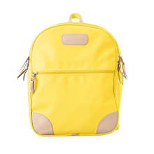 Load image into Gallery viewer, Backpack front view in Color 'Lemon Coated Canvas'