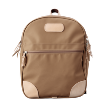 Load image into Gallery viewer, Backpack front view in Color 'Saddle Coated Canvas'