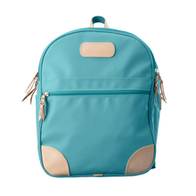 Load image into Gallery viewer, Backpack front view in Color 'Ocean Blue Coated Canvas'
