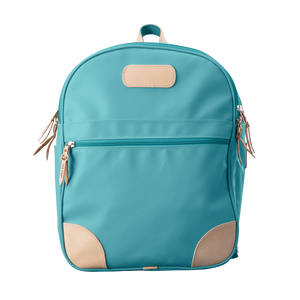 Backpack front view in Color 'Ocean Blue Coated Canvas'