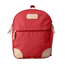 Load image into Gallery viewer, Backpack front view in Color 'Red Coated Canvas'