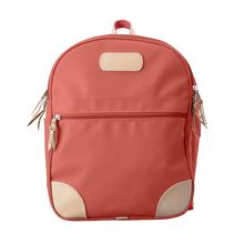 Load image into Gallery viewer, Backpack front view in Color 'Coral Coated Canvas'