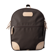 Load image into Gallery viewer, Backpack front view in Color 'Espresso Coated Canvas'