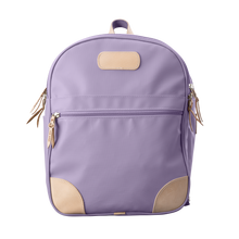 Load image into Gallery viewer, Backpack front view in Color 'Lilac Coated Canvas'