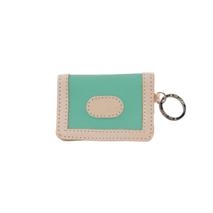 ID Wallet - Mint Coated Canvas Front Angle in Color 'Mint Coated Canvas'