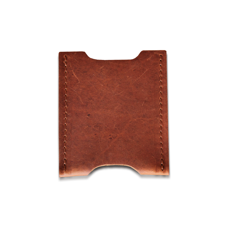 Quality made in America oiled leather card holder to personalize with initials or monogram