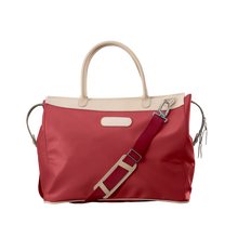 Load image into Gallery viewer, Burleson Bag - Red Coated Canvas Front Angle in Color 'Red Coated Canvas'