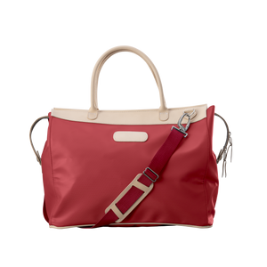 Burleson Bag - Red Coated Canvas Front Angle in Color 'Red Coated Canvas'