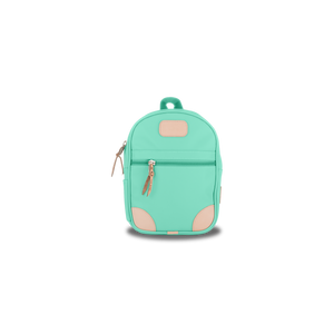 Mini Backpack - Mint Coated Canvas Front Angle in Color 'Mint Coated Canvas'