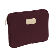 "Load image into Gallery viewer, 13"" Computer Case - Burgundy Coated Canvas Front Angle in Color 'Burgundy Coated Canvas'"