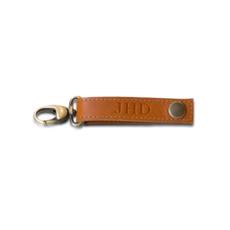 Quality made in America leather key ring strap to personalize with initials or monogram