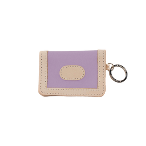 ID Wallet - Lilac Coated Canvas Front Angle in Color 'Lilac Coated Canvas'
