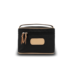 Makeup Case - Black Coated Canvas Front Angle in Color 'Black Coated Canvas'