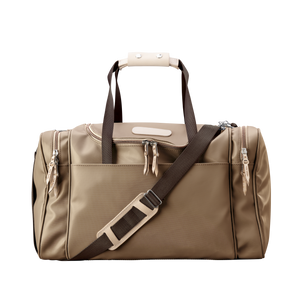 Medium Square Duffel - Saddle Coated Canvas Front Angle in Color 'Saddle Coated Canvas'