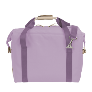 Large Cooler - Lilac Coated Canvas Front Angle in Color 'Lilac Coated Canvas'