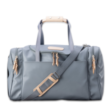 Load image into Gallery viewer, Quality made in America durable coated canvas duffle bag with natural leather patch to personalize with initials or monogram