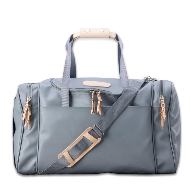 Quality made in America durable coated canvas duffle bag with natural leather patch to personalize with initials or monogram