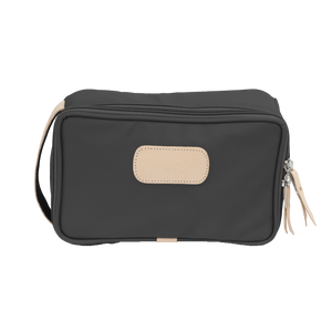 Small Travel Kit - Charcoal Coated Canvas Front Angle in Color 'Charcoal Coated Canvas'