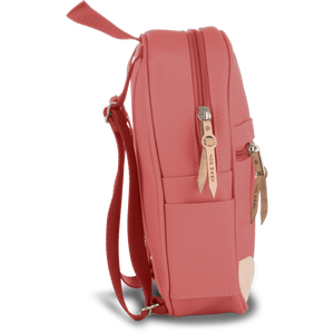 Mini Backpack - Coral Coated Canvas Front Angle in Color 'Coral Coated Canvas'
