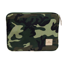 "Load image into Gallery viewer, 13"" Computer Case - Classic Camo Coated Canvas Front Angle in Color 'Classic Camo Coated Canvas'"