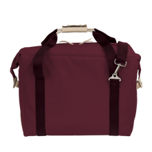 Load image into Gallery viewer, Large Cooler - Burgundy Coated Canvas Front Angle in Color 'Burgundy Coated Canvas'