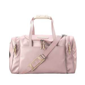 Medium Square Duffel - Rose Coated Canvas Front Angle in Color 'Rose Coated Canvas'